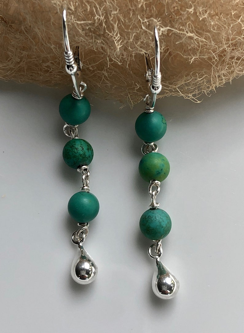 Turquoise Earrings   Long Dangle Earrings  Sterling Silver and Turquoise Earrings