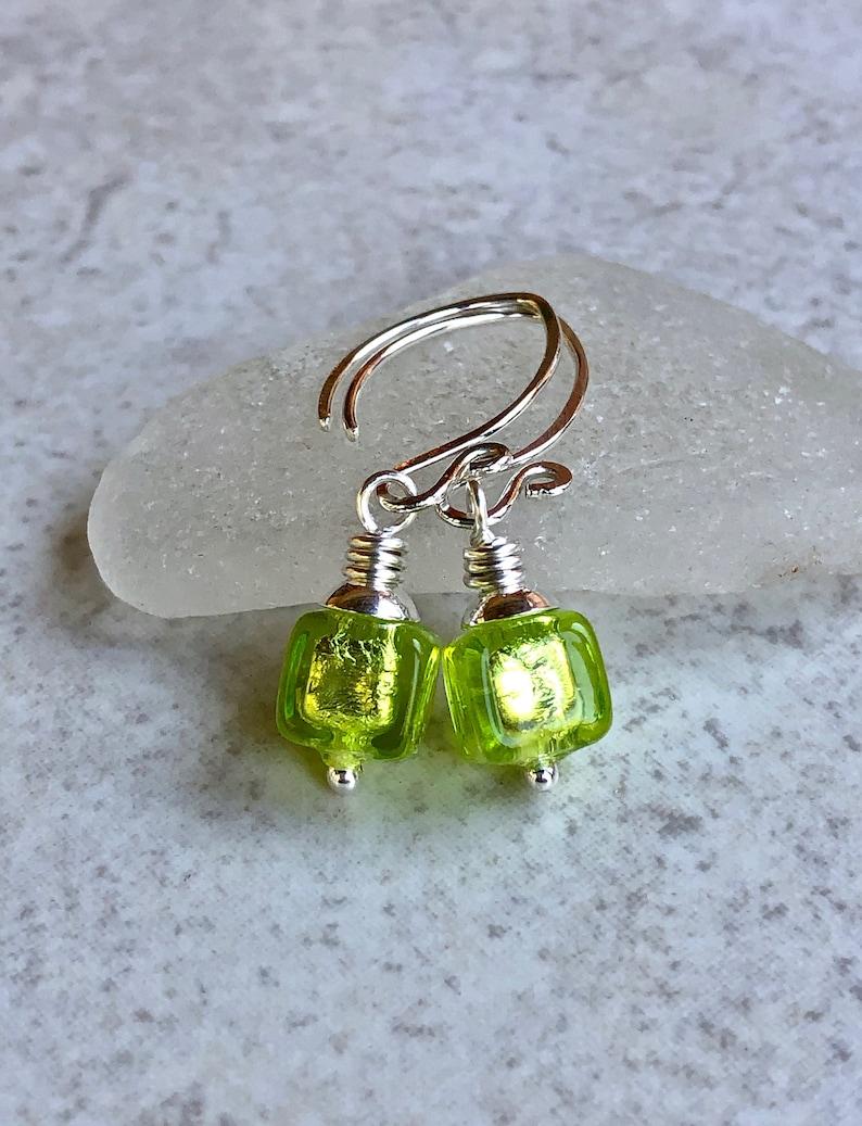 Green Venetian Murano Glass Earrings    Small Cube Earrings     Petite Sterling Silver Earrings