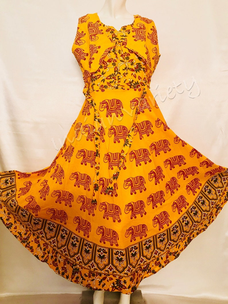 7d58d90b43 Yellow Color Pure cotton Long Jaipuri frock lock printed