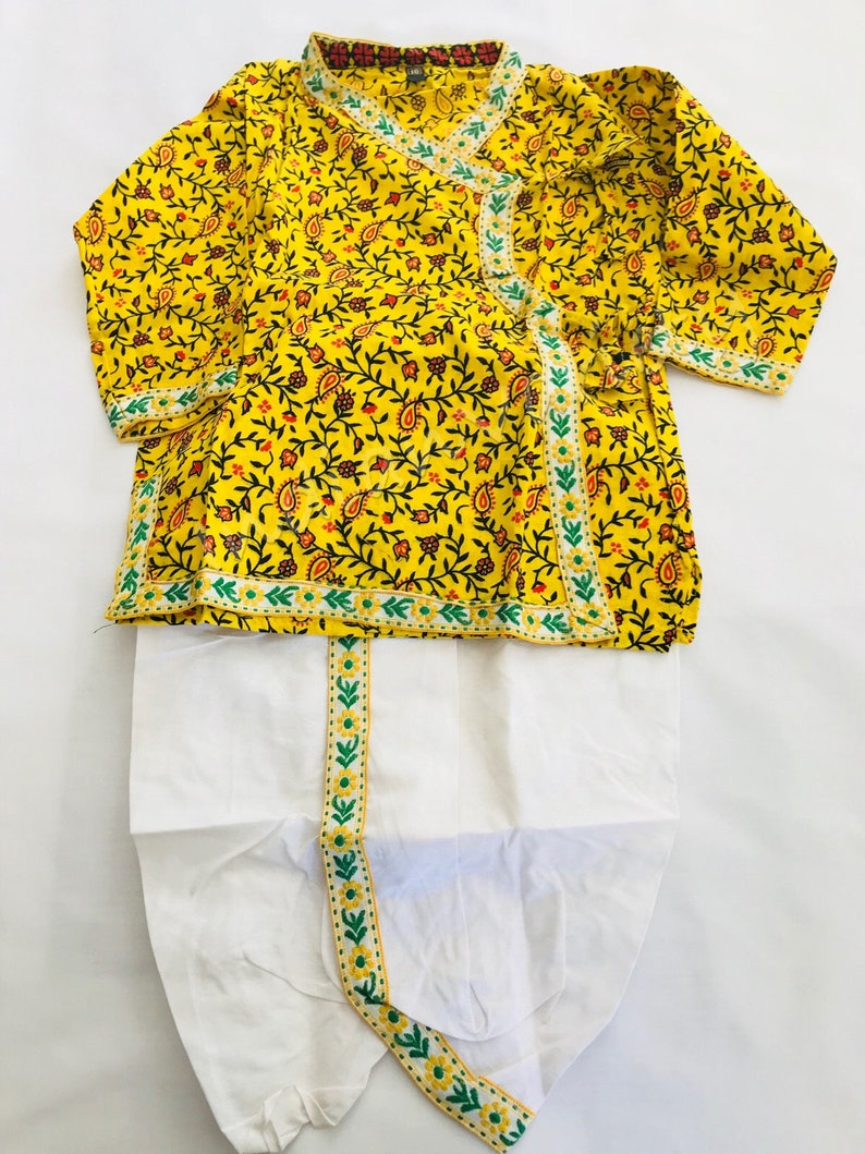 d58ef0e3860c Yellow white soft boys dhoti kurta running print traditional