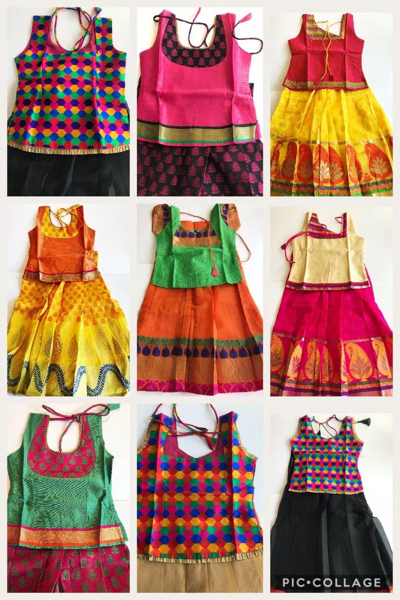 89cec8650 Indian traditional kids Pattu Pavadaichaniya | Etsy