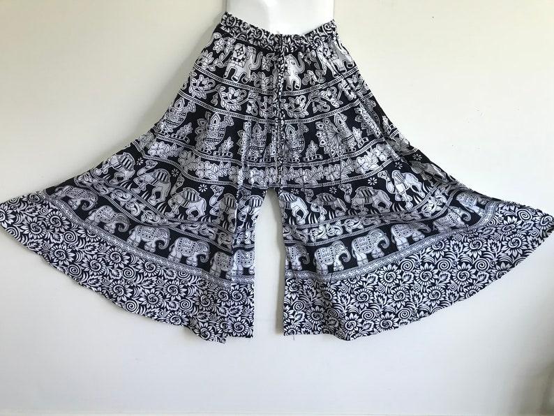 3be0210329a Black white Color Pure Cotton Jaipur Block Print Palazzo
