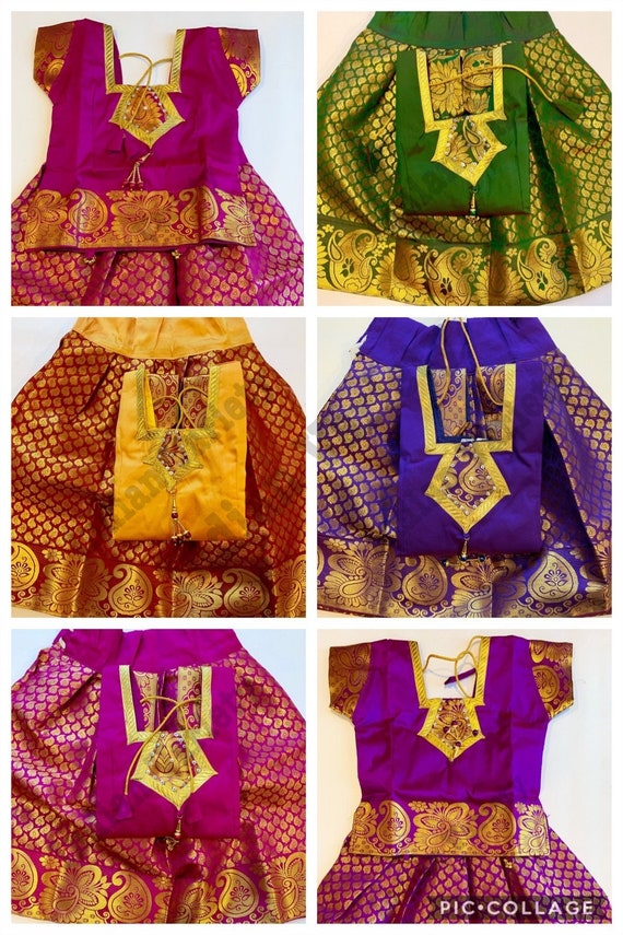 f82a8f39d Indian traditional kids Pattu Pavadaipure silk pattu skirt | Etsy