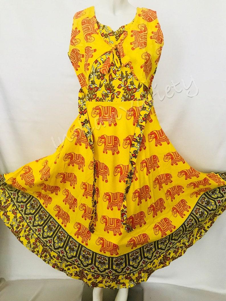 2fe50d7b1 Lemon Yellow color Pure cotton Long Jaipuri frock print | Etsy