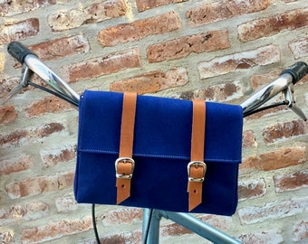 Navy Blue cotton canvas and leather bicycle bag/ blue handlebar bag/ bicycle purse/ navy blue bag