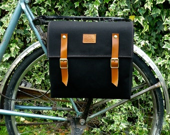 Bicycle pannier/black canvas and leather pannier/bicycle messenger/ black canvas/ bicycle accessories/ black messenger/ bicycle bag