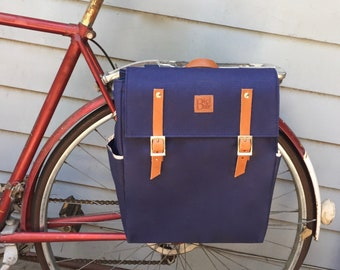 Bicycle pannier/Navy blue canvas and leather pannier/bicycle messenger/messenger pannier/ bicycle accessories/ canvas backpack