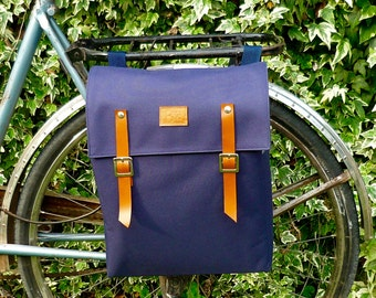 Waterproof Blue Bicycle Backpack pannier/ bicycle messenger/ lightweight backpack/ bicycle accessories/ navy pannier
