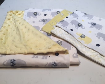 Elephant baby blanket and two burp cloths