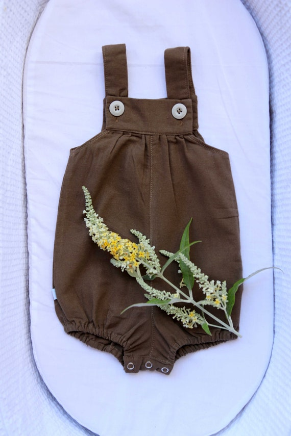 bc9753b18 Dark chocolate brown linen romper baby boy romper uni sex