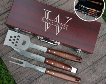 Personalized BBQ Tool Set Engraved with Design Options and Font Selection (Each w/ Three Piece BBQ Tool Set in Rosewood Case)