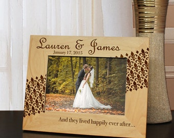 Fleur de Lis Inspired Personalized Picture Frame with Font Selection (Select Size and Frame Orientation)