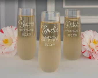 Personalized Stemless Champagne Flutes Engraved with Bridal Monogram Design Options with Font Selection & Optional Sand-Frosted Bowl (Each)