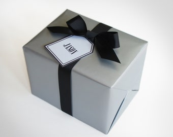 GIFT WRAP including Gift Box, Gift Wrap Selection, & Ribbon Selection for Design's the Limit with Tag and Card Optional