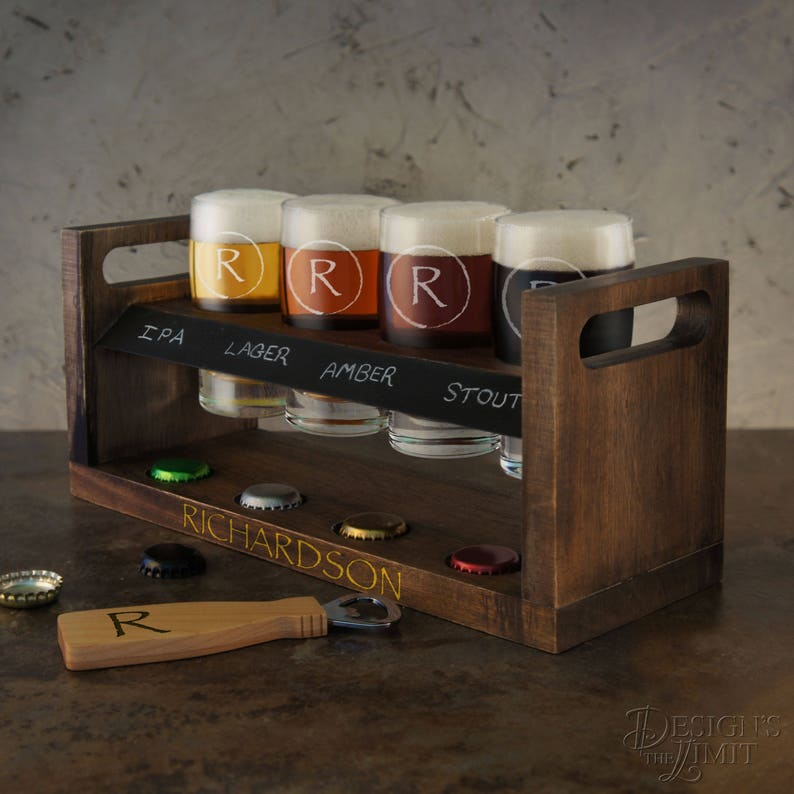 Personalized Beer Flight Sampler with Monogram Design Options image 0