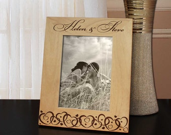 Joined Hearts Inspired Personalized Valentines Picture Frame with Font Selection (Select Size and Frame Orientation)