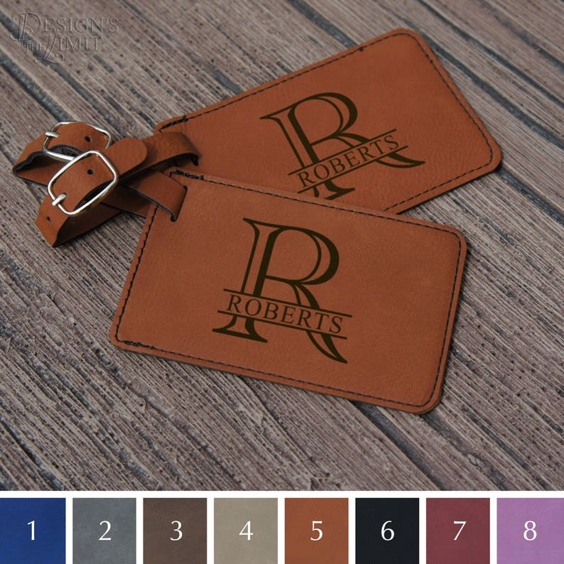 Monogrammed Couples Luggage Tags Engraved w/ Choice of Print PRINT