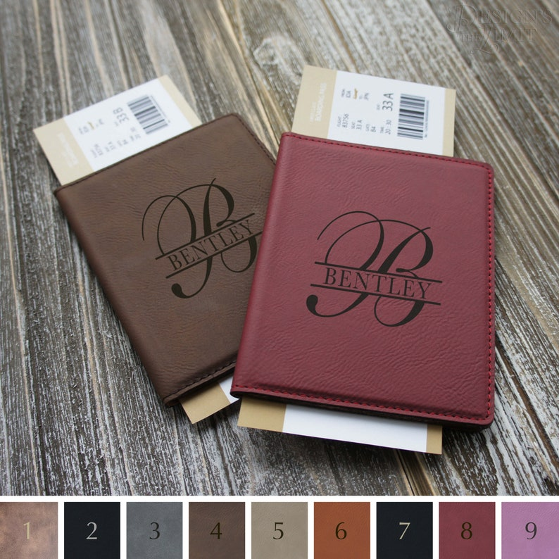 e83a2f7827a5 Personalized Passport Engraved with Overlapping Monogram with Choice of  Print or Script Options from Our Selection (Each)