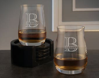 Personalized Spirit Tumblers with Overlapping Monogram Designs OPTIONAL Engraved Ice Stones or Shot Glasses (EACH - w/ Options)