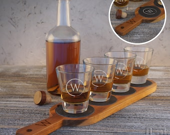 Personalized Whiskey Flight Sampler with Slate Coasters and 7oz. Glasses