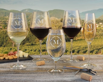 Personalized Crystal Stemware Engraved with Monogram Design Options (Each, Choose Type of Stem from Menu)