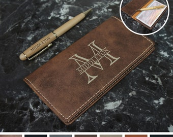 Personalized Checkbook Cover Engraved with Choice of Text or Monogram Design & Font from Our Selection (Each)