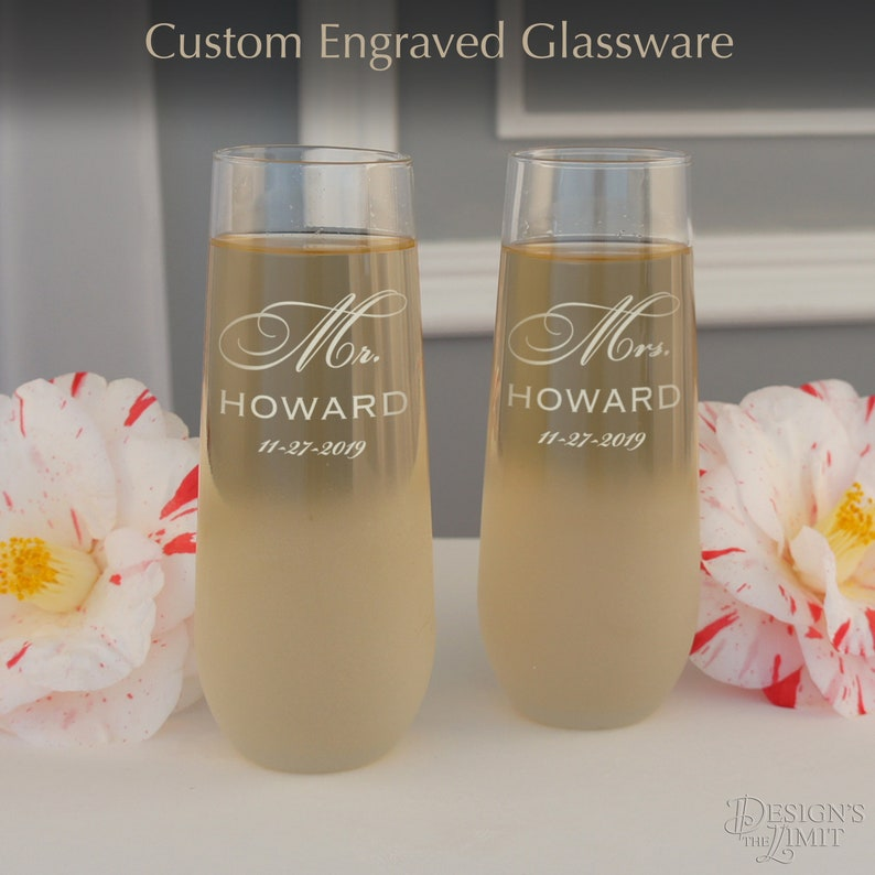 Personalized Stemless Champagne Toasting Flutes with Mr & Mrs image 0