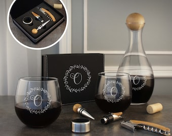 Wine Decanter & Wine Tool Gift Set with Corkscrew, Wine Pour, Foil Cutter, and Bottle Stopper (Set) with Optional Stemless Wine Glasses