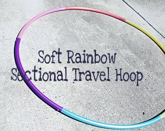 """Soft Rainbow Sectional Travel Hoop--polypro 3/4"""" or 5/8"""" pastels"""