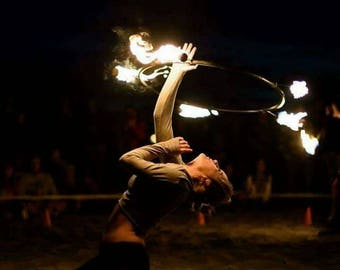 """Fire Hoop-Fixed LARGE """"Dragon"""" Monkey fist wicks--Longer burn. Taped hoop Note tape choice when ordering--Made to order"""