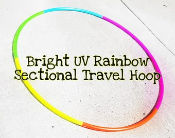 """Bright UV Rainbow Sectional Travel Hoop--polypro 3/4"""" or 5/8"""""""