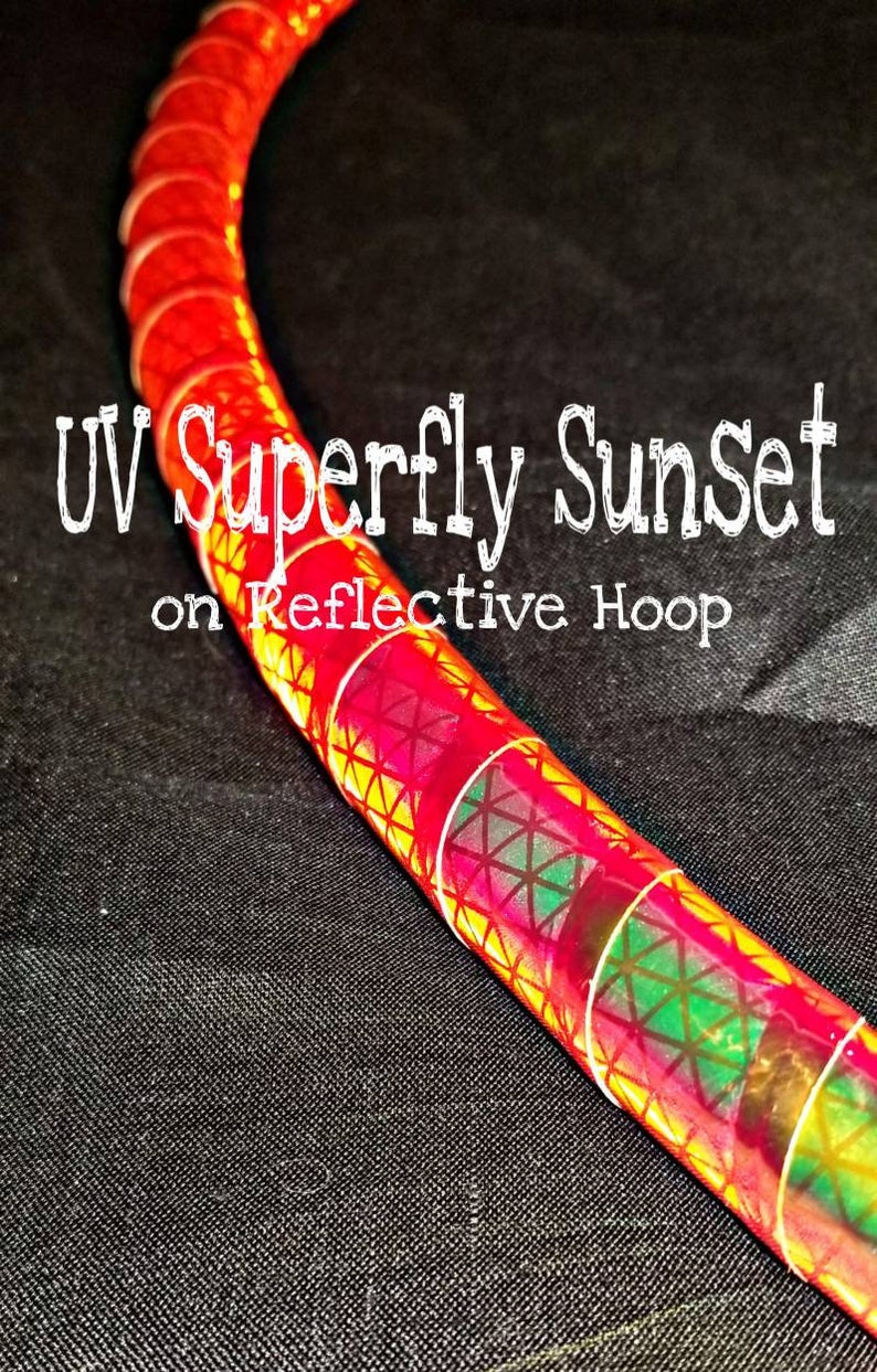 Color Shifting UV Superfly Sunset Taped hoop--34 or 58 Polypro HDPE specify in notes--hula hoop