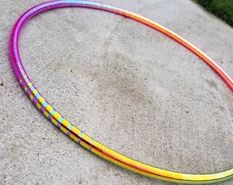 """Custom Taped Hoop: """"Fire Ombre"""" Polypro or HDPE 5/8"""", 11/16"""" 3/4"""" with Free Clear Protective Tape"""