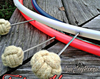 """Fire Hoop--Fixed SMALL """"Pixie"""" Monkey fist wicks-Colored Polypro or HDPE-Note tubing color and thickness when ordering. See photos"""