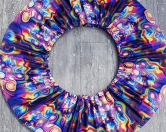"""Rainbow Meteorite hoop Cozy-- hoop carrier--size Small/up to 28"""" od hoops; Extra roomy"""
