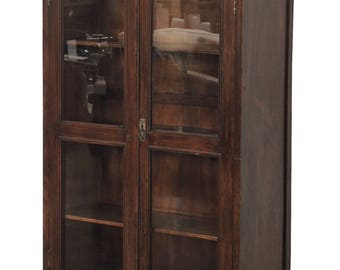 Vintage Balinese Teak Glass Cabinet By Terra Nova Furniture Los Angeles