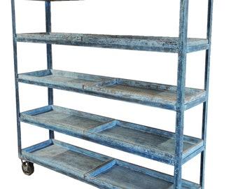 Distressed Blue Metal And Wood Bookshelf Trolley