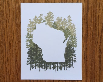 Wisconsin State Print - Pine