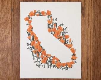California State Print - Poppies // State Map Silhouette