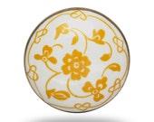 Retro Ceramic Door Knob, White Decorative Knob with Yellow Floral Print, Vintage Flower Dresser Draw Pull, Cabinet Knob or Cupboard Handle