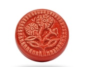 Floral Coral Coloured Decorative Door Knob for a Kitchen Cupboard or Living Room Cabinet, Flower Print Ceramic Door Handle or Pull