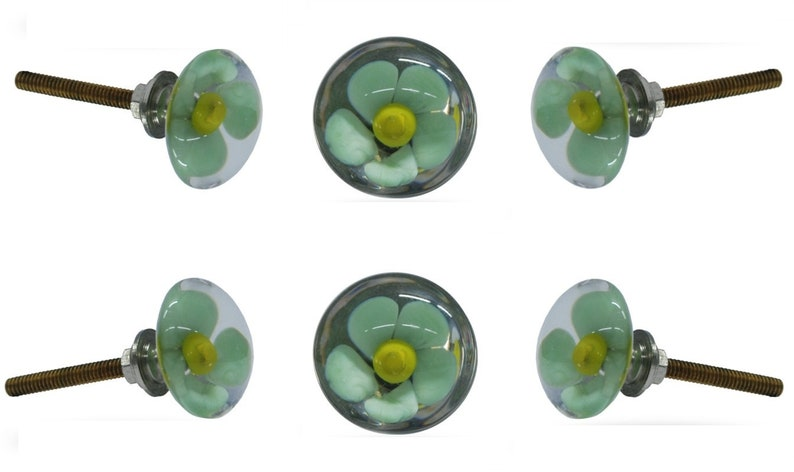 Round Floral Cabinet Hardware for a Kitchen Cupboard or Drawer Decorative Mendip Glass Knob Set of 6 Flower Door Knobs in Green and Yellow
