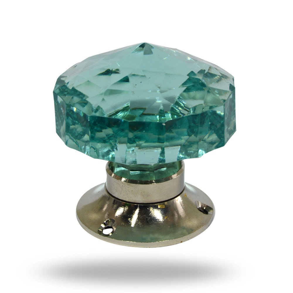 Unique Large Mortice Knob Turquoise Blue Faceted Cut Glass Etsy