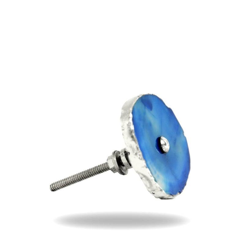 Marbar Agate Knob with Silver Hardware Biue