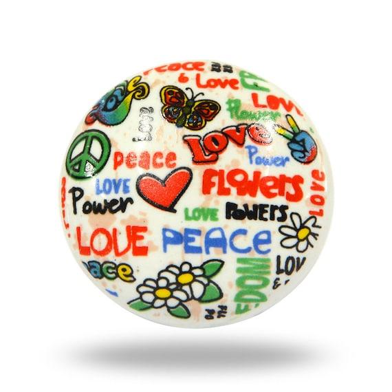 Hippie Peace, Love U0026 Flower Power Ceramic Door Knob, Unique Colorful  Furniture Fixture, Decorative Cabinet, Cupboard Or Dresser Drawer Pull From  TrincaFerro ...