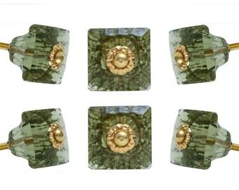 Set of 6 Mammounia Glass Knobs Green