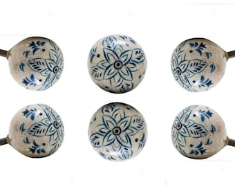 Set of 6 Dhami Round Hand Painted Wooden Knobs