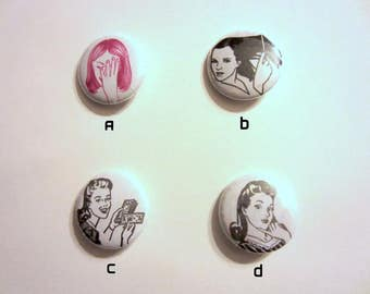 "Vintage Women 1"" Pinback Buttons - 4 Designs!"