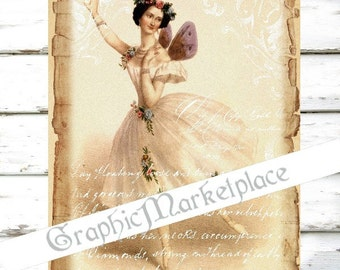 Ballet Ballerina Tutu Large Image Download Shabby Chic Transfer Fabric digital collage sheet No. 1158