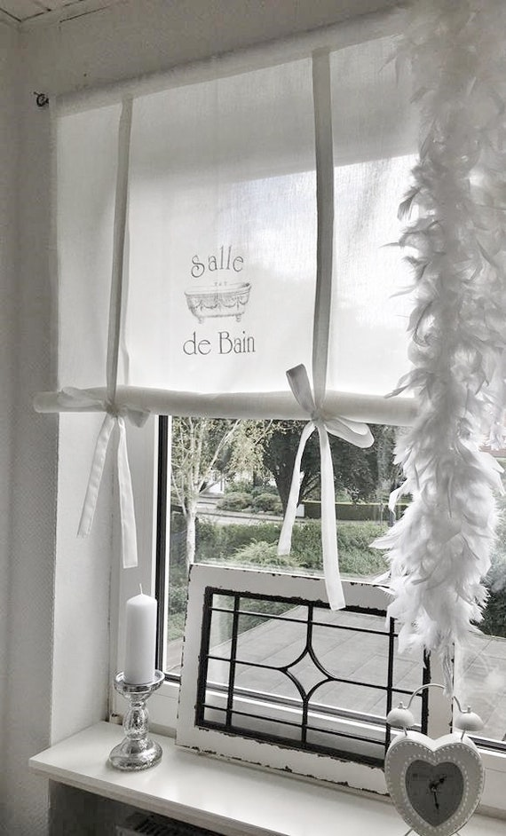 shabby raffrollo salle de bain french gardine bathroom etsy. Black Bedroom Furniture Sets. Home Design Ideas